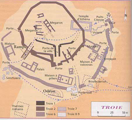 Cartes des empires entre 3000 et 500 avant J.C. Troie_plan